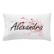 Alexandra Artistic Name Design with He Pillow Case