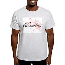 Alexandria Artistic Name Design with Heart T-Shirt