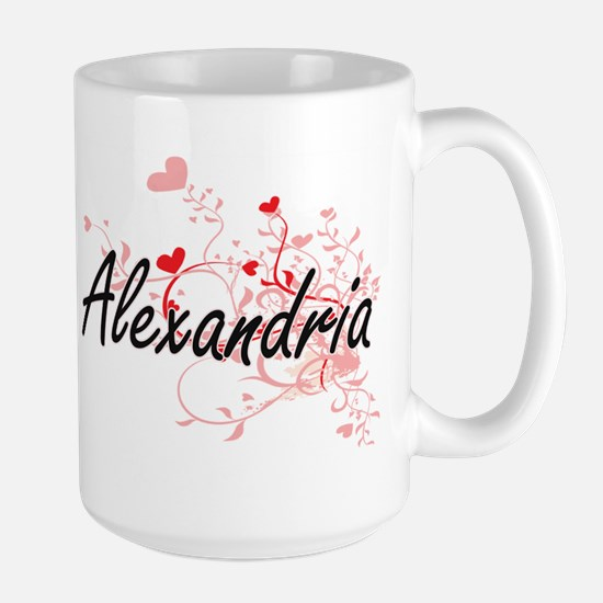 Alexandria Artistic Name Design with Hearts Mugs