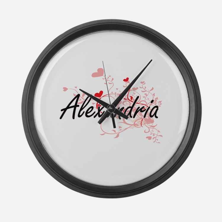 Alexandria Artistic Name Design w Large Wall Clock