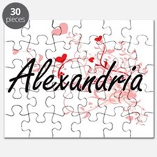 Alexandria Artistic Name Design with Hearts Puzzle