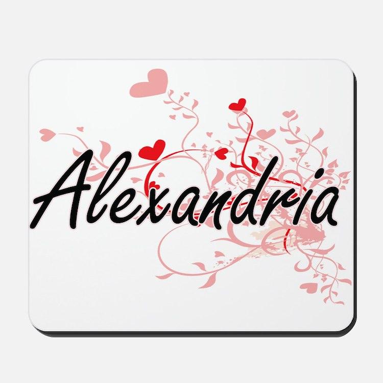 Alexandria Artistic Name Design with Hea Mousepad
