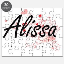 Alissa Artistic Name Design with Hearts Puzzle