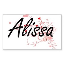Alissa Artistic Name Design with Hearts Decal