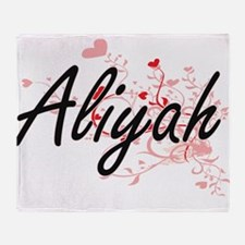 Aliyah Artistic Name Design with Hea Throw Blanket