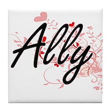 Ally Artistic Name Design with Hearts Tile Coaster