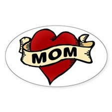 Mom heart tattoo Oval Decal
