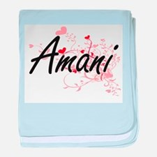 Amani Artistic Name Design with Heart baby blanket