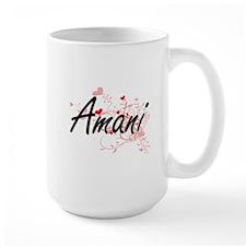 Amani Artistic Name Design with Hearts Mugs
