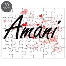 Amani Artistic Name Design with Hearts Puzzle