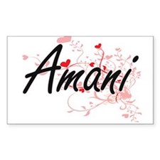 Amani Artistic Name Design with Hearts Decal