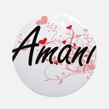 Amani Artistic Name Design with H Ornament (Round)