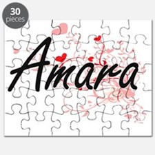 Amara Artistic Name Design with Hearts Puzzle