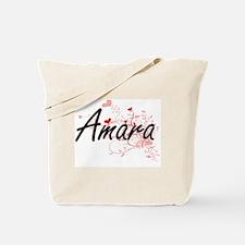 Amara Artistic Name Design with Hearts Tote Bag