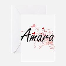 Amara Artistic Name Design with Hea Greeting Cards