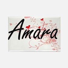 Amara Artistic Name Design with Hearts Magnets