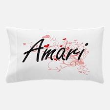 Amari Artistic Name Design with Hearts Pillow Case