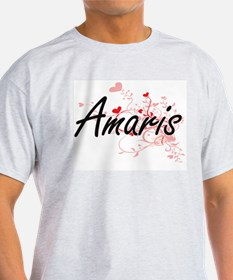 Amaris Artistic Name Design with Hearts T-Shirt