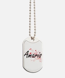 Amaris Artistic Name Design with Hearts Dog Tags
