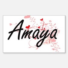 Amaya Artistic Name Design with Hearts Decal