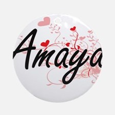 Amaya Artistic Name Design with H Ornament (Round)