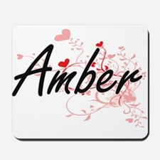 Amber Artistic Name Design with Hearts Mousepad