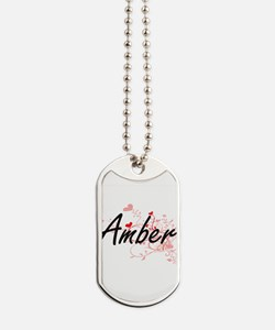 Amber Artistic Name Design with Hearts Dog Tags