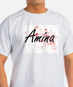 Amina Artistic Name Design with Hearts T-Shirt