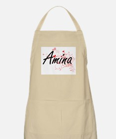 Amina Artistic Name Design with Hearts Apron