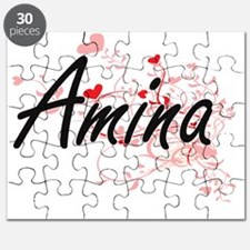 Amina Artistic Name Design with Hearts Puzzle
