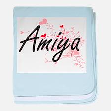 Amiya Artistic Name Design with Heart baby blanket