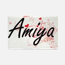 Amiya Artistic Name Design with Hearts Magnets