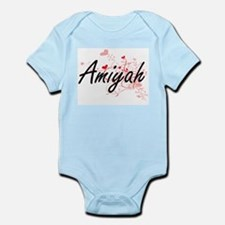 Amiyah Artistic Name Design with Hearts Body Suit