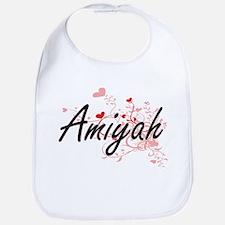 Amiyah Artistic Name Design with Hearts Bib