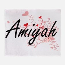 Amiyah Artistic Name Design with Hea Throw Blanket