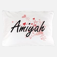 Amiyah Artistic Name Design with Heart Pillow Case