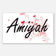 Amiyah Artistic Name Design with Hearts Decal
