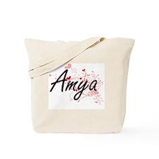 Amya Artistic Name Design with Hearts Tote Bag