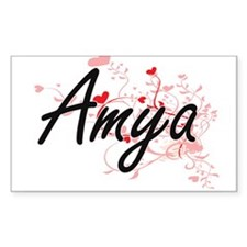 Amya Artistic Name Design with Hearts Decal