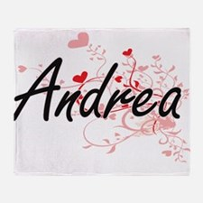 Andrea Artistic Name Design with Hea Throw Blanket
