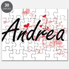 Andrea Artistic Name Design with Hearts Puzzle