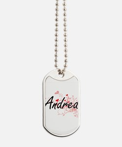 Andrea Artistic Name Design with Hearts Dog Tags