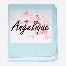 Angelique Artistic Name Design with H baby blanket