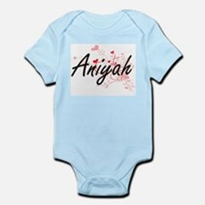 Aniyah Artistic Name Design with Hearts Body Suit