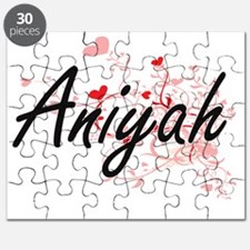 Aniyah Artistic Name Design with Hearts Puzzle