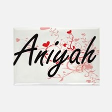 Aniyah Artistic Name Design with Hearts Magnets