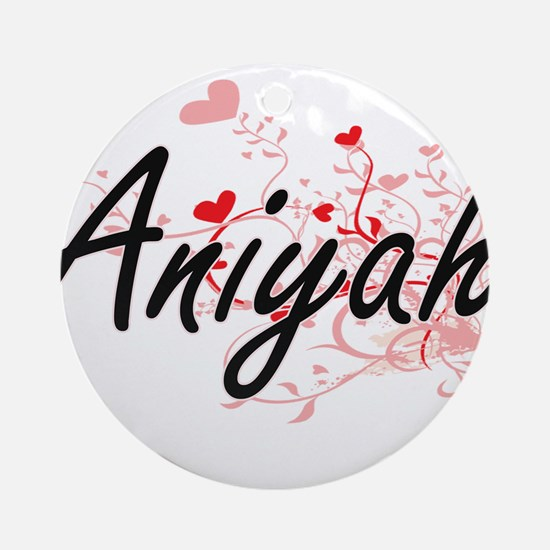 Aniyah Artistic Name Design with Ornament (Round)
