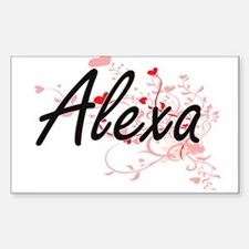 Alexa Artistic Name Design with Hearts Decal