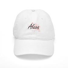 Alexa Artistic Name Design with Hearts Baseball Cap