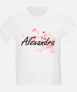 Alexandra Artistic Name Design with Hearts T-Shirt